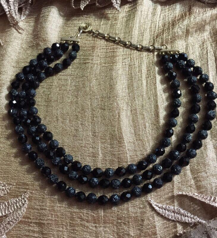 Vintage Signed Lisner 3 Strand Necklace Choker  Some Shiny Black Beads