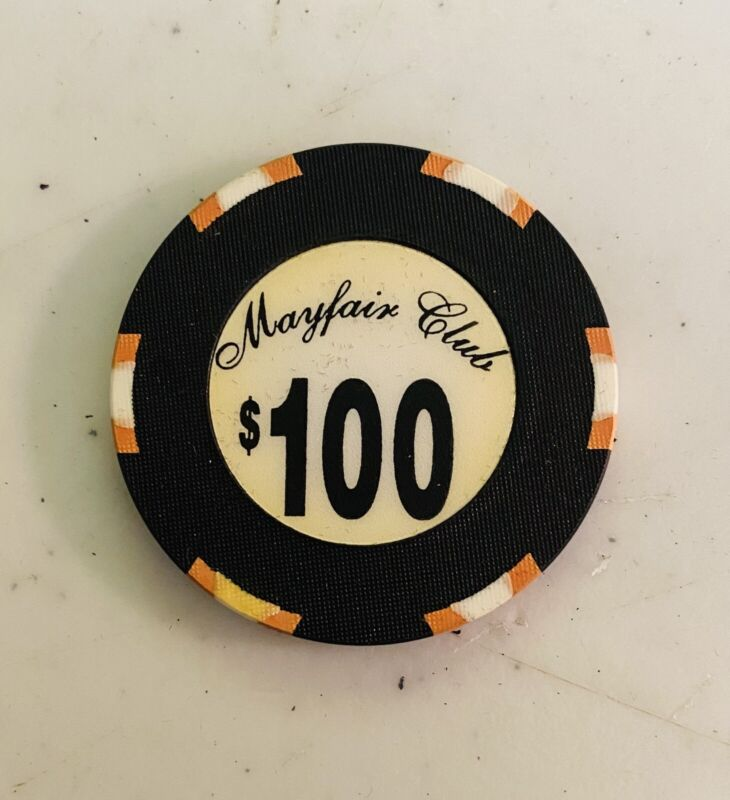 MAYFAIR CLUB, NEW YORK CITY $100 CHIP,  CARD ROOM CASINO, 44mm OVERSIZED CHIP