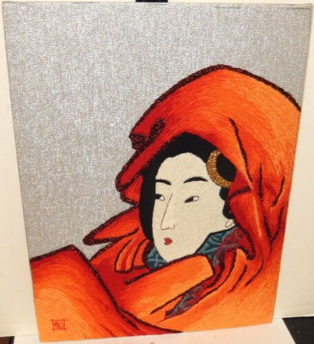 JAPANESE WOMAN EMBROIDERY TAPESTRY PAINTING SIGNED