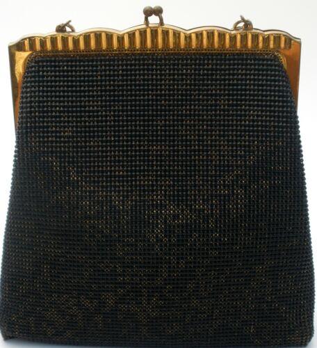 Whiting & Davis Black Purse Handbag Vintage Bag Brass Frame Gold Handle Retro
