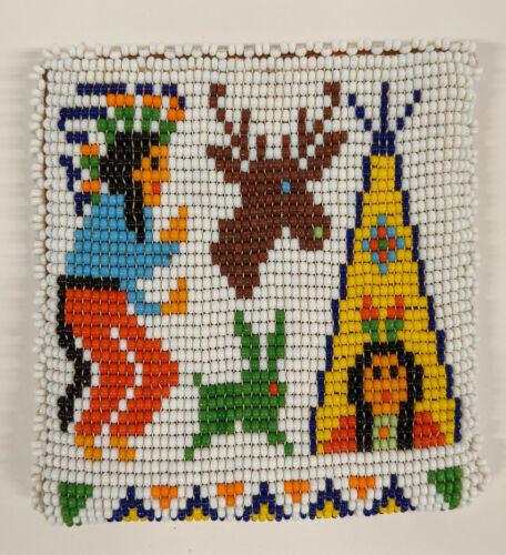 Vintage Tee Pee Westwear Native American Motif Beaded Wallet Chief Rabbit Deer