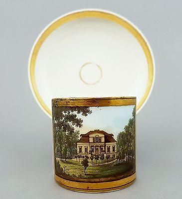 KPM Berlin Biedermeier Ansichtentasse, Ansicht einer Villa , um 1820