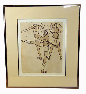 "11"" Original Etching Signed Robin 1/350 Fitness Women 1980s Fashion Art"