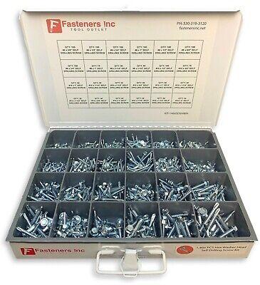 1466 Piece Hex Washer Head Tek Self Drilling Screw Zinc Assortment Fastener Kit