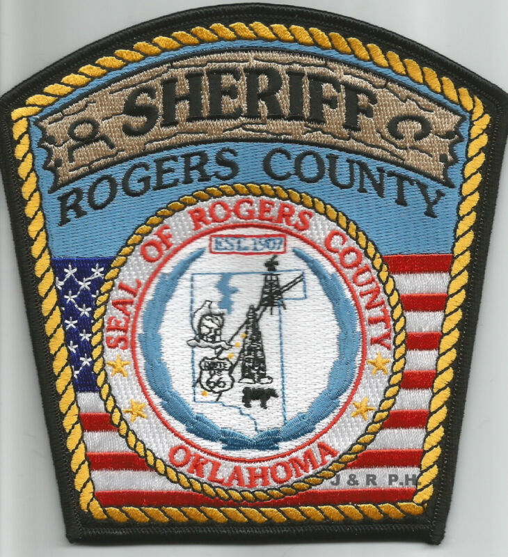 """Rogers Co. Sheriff, Oklahoma (5"""" x 5.25"""" size) shoulder police patch (fire)"""