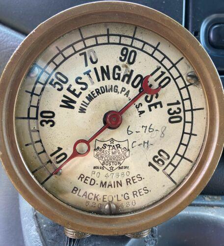 STAR Brass Westinghouse Locomotive Brake Test Pressure Gauge Steam Punk