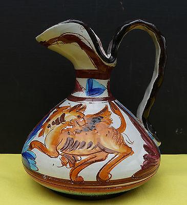 "Dec a Mano Italy Keramik Vase - Krug "" Drache "" Majolika 50er / 60er Jahre !!!"