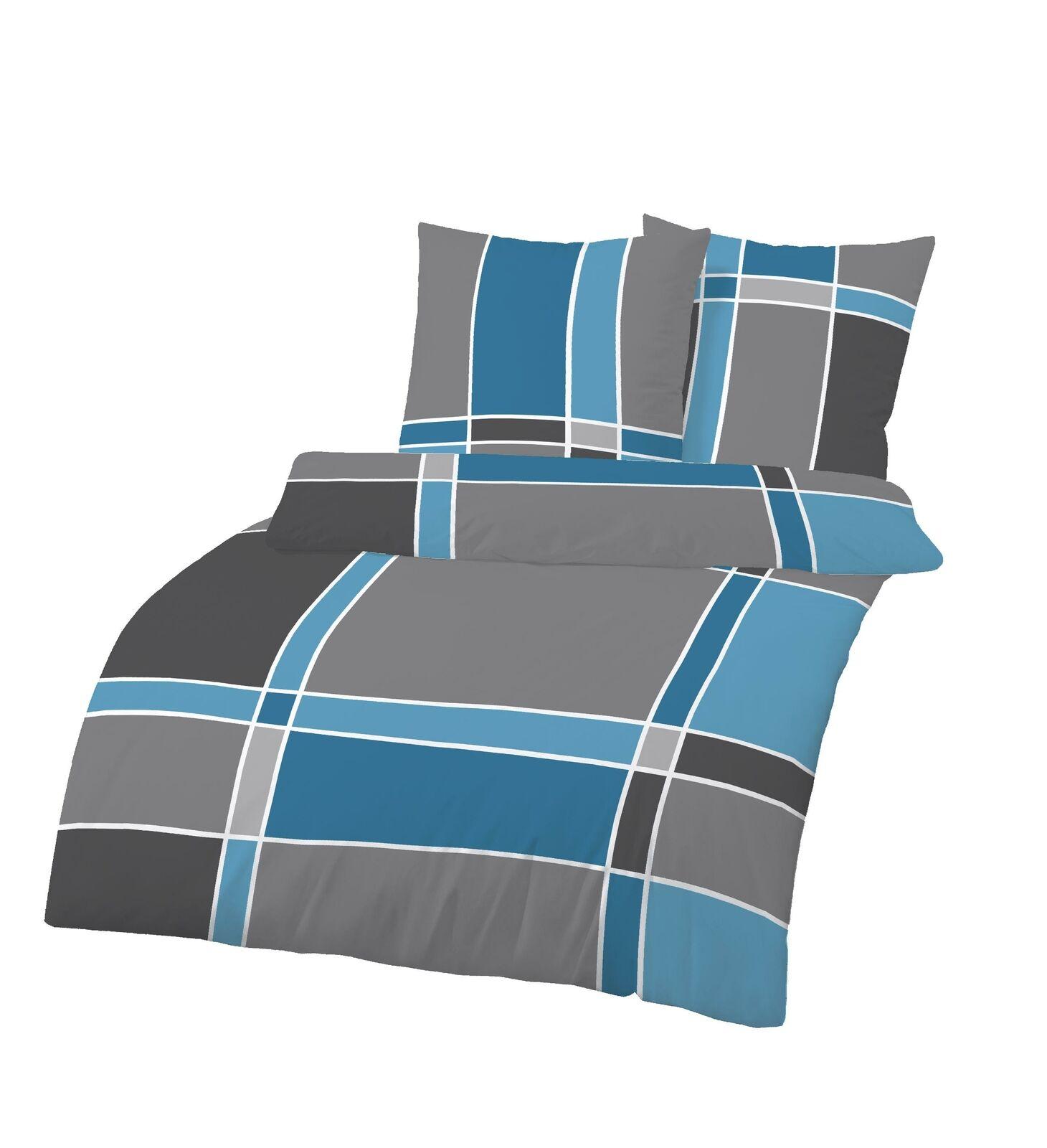 Blau Weiß Grau Streifen 135x200 cm Bettbezug IDO Fein Biber Bettwäsche 2tlg