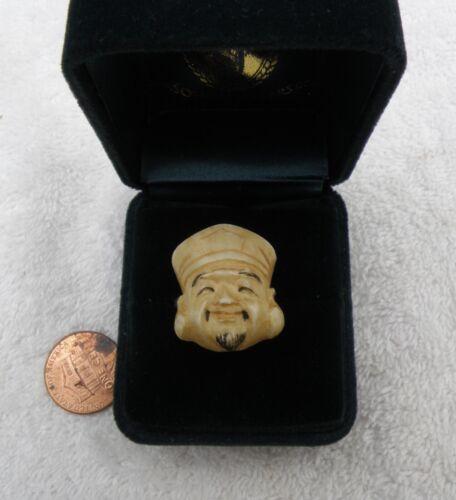 Vintage Silver carved Daikoku Daikokuten Japanese God of Wealth ring sz 6.25