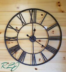 Distressed Rustic Industrial Modern Gray Metal Roman Numerals Round Wall Clock