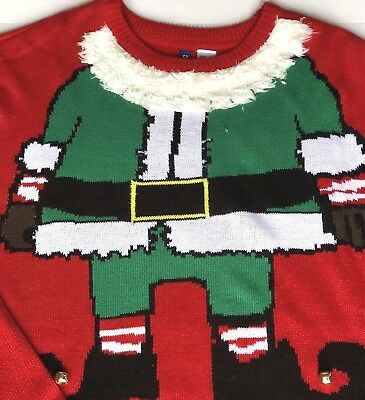 H & M Divided Womens Christmas Sweater XL Red Santa Suit Crewneck Jingle bells - Womens Christmas Suits