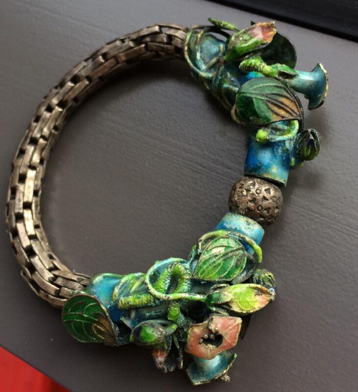 Exceptional Antique Chinese export Silver Enamel bracelet bangle