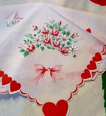 Lovely New Valentine Handkerchief - Hearts, Doves & Roses!