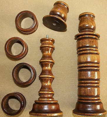 "NOS Vintage  Home Interiors HOMCO 8"" Wood Candle Sticks w Removable Napkin Rings"