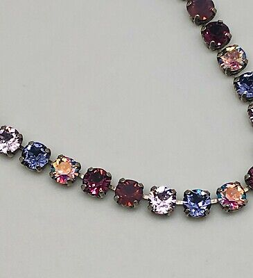 8mm Cup Chain Purple Grape Tennis Necklace made with Swarovski Crystals