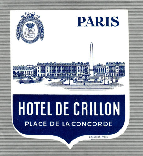 vintage  luggage label, Hotel  label    HOTEL  DE CRILLON  Paris