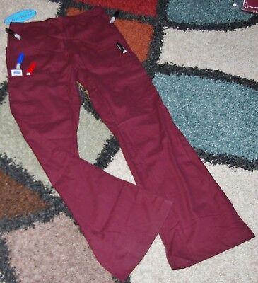 Drawstring Pant Wine - Frederick Drawstring Cargo 6 pocket Flare Scrub Pant Elastic back Wine Size XS