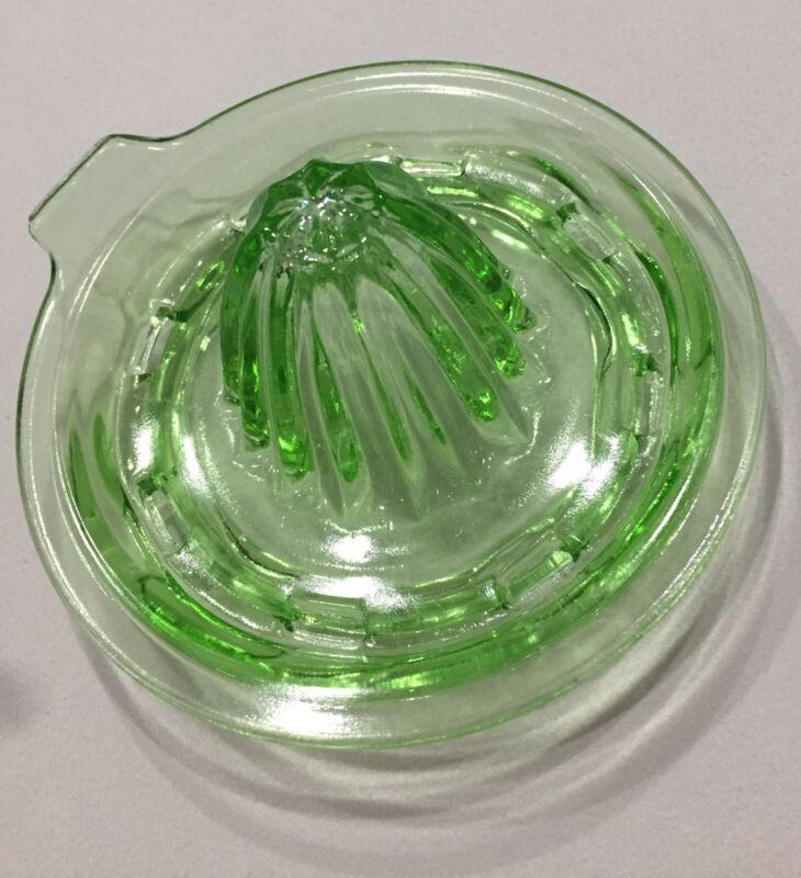 Green Depression Glass Juicer - Vintage