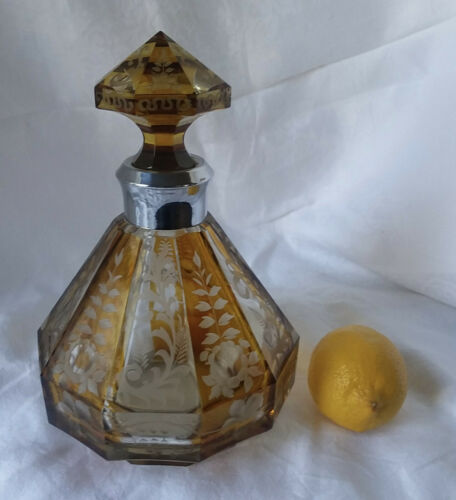 Vintage Bohemian Glass Decanter...Yellow Cut-to-Clear...C. 1940