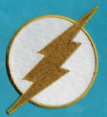"""THE FLASH  4"""" Large Fully Embroidered White & Gold Chest Insignia Patch"""