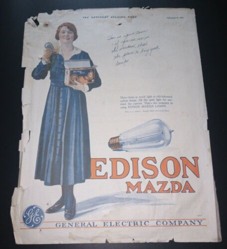 "VERY RARE 1919 General Electric Edison Mazda ""Lamp"" Lightbulb Ad 10.5"" x 14"""
