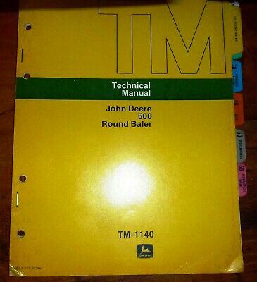 John Deere 500 Round Baler Technical Service Manual Tm-1140jd