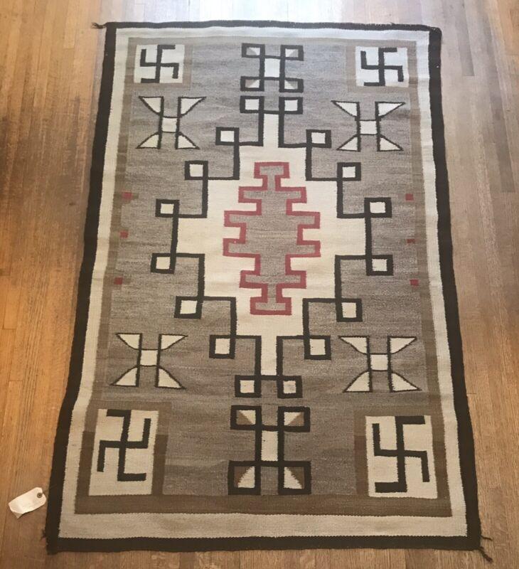 """Vintage Native American Ganado Navajo Rug, Rolling Log Design, 68.5"""" by 43.5"""""""