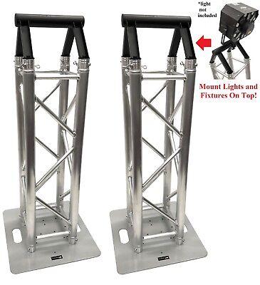 (2)DJ Lighting Aluminum Truss Light Weight Dual 3.28 ft Totem System+Toppers