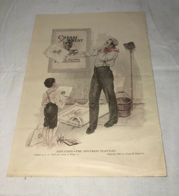 ANTIQUE VINTAGE 1920 CREAM OF WHEAT ADVERTISING PAPER JA CAHILL BLACK AMERICANA