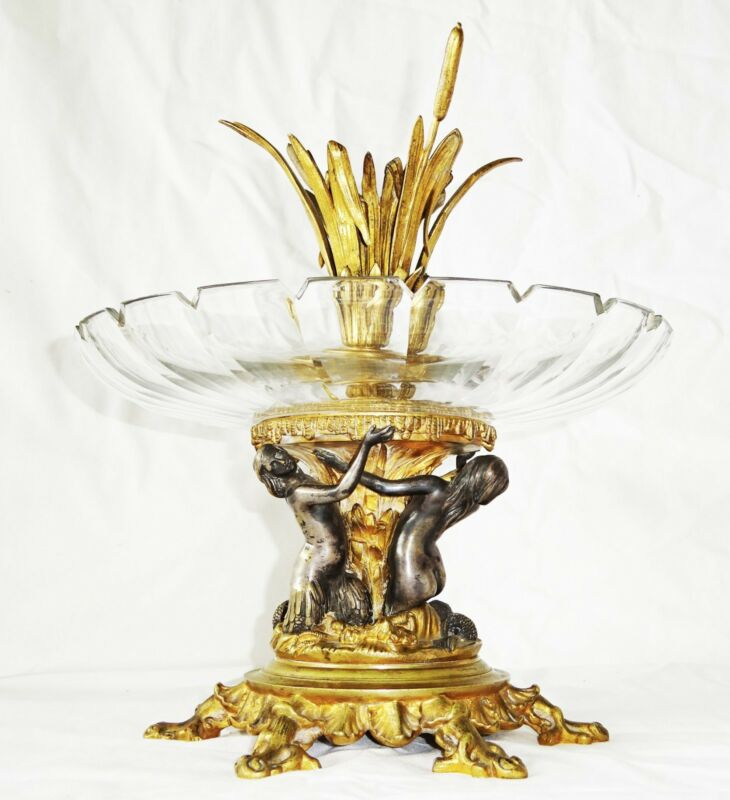 Antique French Gilded & Silver Plated Bronze & Crystal Compote w. Marmaids (Mel)