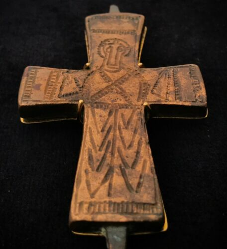 HUGE XL Byzantine (600-900 AD) Ancient Early Christian Bronze Cross 18K Gold
