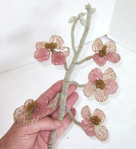 "Vintage French Bead Flowers 5 Large Pink Flowers on Green Stem 16"" Long"