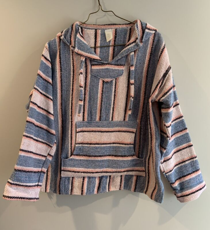Vintage Molina Oaxaca Striped Blanket Hoodie Sweatshirt Made In Mexico Large