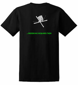 JUST-RIDE-FREESKIING-REQUIRES-BALLS-T-SHIRT-SNOW-SKI-SKIER-K2-HEAD-Salomon