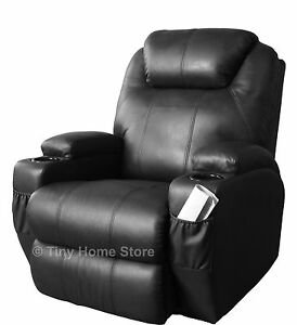 Luxury Leather Cinema Recliner Chair w/ Massage, Rocker, Swivel, Nursing, Gaming