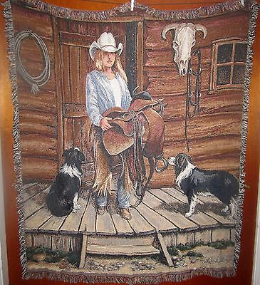 Cowgirl & Herding Dogs - Working Girls Woven Cotton Tapestry Afghan Throw