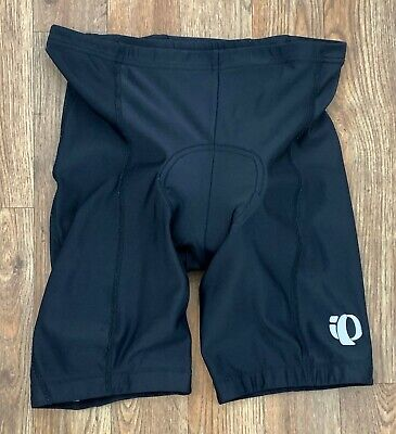 Pearl Izumi Mens Black Cycling Shorts w Padded Liner Reflective Logos Size Large