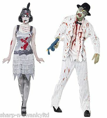 paar kost m zombie geist gangster flapper halloween kost me outfits ebay. Black Bedroom Furniture Sets. Home Design Ideas