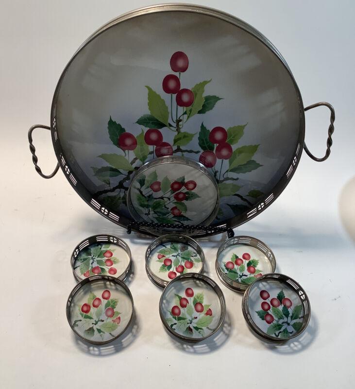 Vintage Tea Tray & Coaster Set Apple Design By BMFN 8 Piece Set