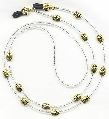 Golden LADYBUGS Eyeglass-Glasses Holder Necklace Leash Chain CUSTOM LENGTH