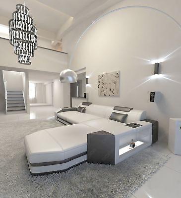 der Couch mit Beleuchtung und Recamiere in weiss schwarz (Einfarbig Schwarz Und Weiß)