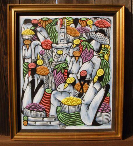 Lg. Framed Vtg. Oil Painting - Abstract Caribbean Island Native Market Scene