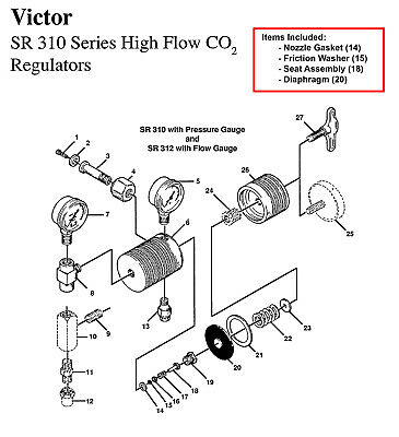 Victor Sr310 Sr311 Regulator Rebuildrepair Parts Kit W Diaphragm
