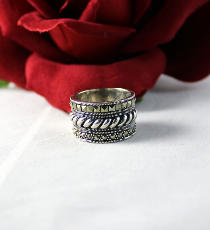 Sterling Silver Sparkling Marcasite    Ring Size 6.5  FERAL CAT RESCUE