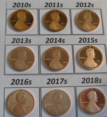 ALL 11 DCam Proof Shield Cents 2010-s to 2020-s : 11 Superb Problem Free Coins