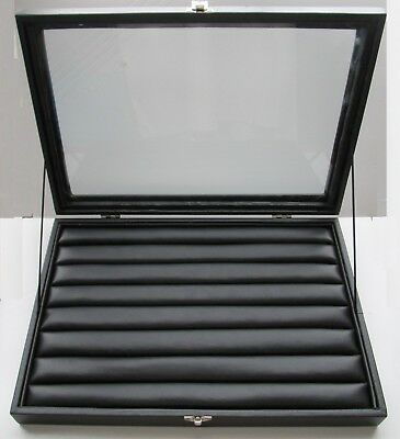 1 Glass Top Lid Black Jewelry Case Leatherette Finisheddisplay