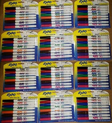 Bulk Lot Of 96 Expo Dry Erase Markers Ultra Fine Tip 12 Packs Of 8-count