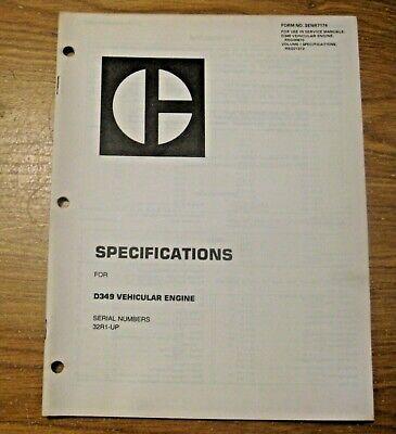 Vintage 1975 Caterpillar D349 Vehicular Engine Specs Manual Construction Mining