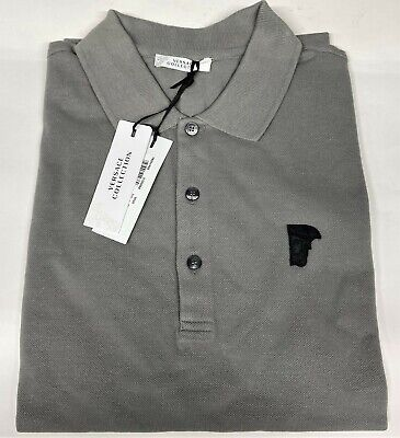 VERSACE COLLECTION MENS SLIM FIT GRAY POLO SHIRT, X-Large