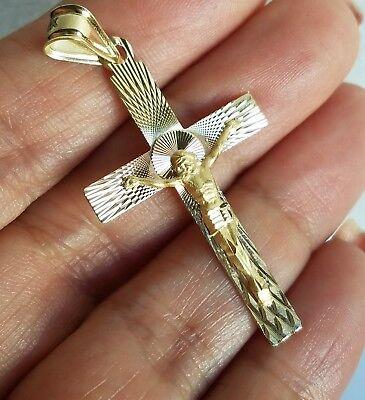 2 inch tone 14k yellow Gold Jesus Crucifix Cross Pendant charm 14k 2 Tone Cross Pendant